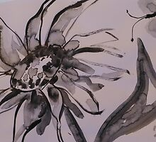 Sunflower with butterfly by Bev Hardidge
