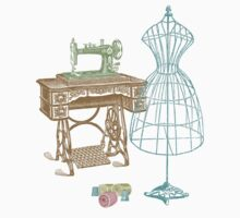 Dressmaker Kit of Dress Form, Sewing Machine and T Kids Clothes