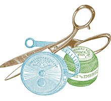 antique typographic vintage sewing kit by surgedesigns