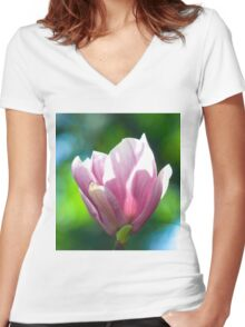 Pink Magnolia Women's Fitted V-Neck T-Shirt