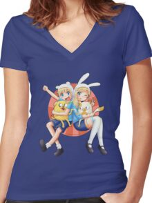 Anime Adventure Time! Women's Fitted V-Neck T-Shirt
