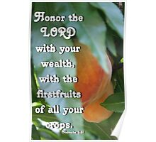 God's Peach Daily Devotional Proverbs 3:9 Poster