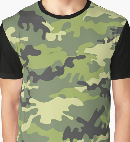 Green Military Camouflage Pattern  Graphic T-Shirt
