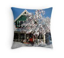 Snow on Mountain Ash Berries Throw Pillow