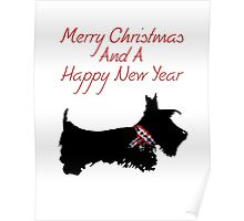 Scottie Dog 'Merry Christmas & a Happy New Year' Poster