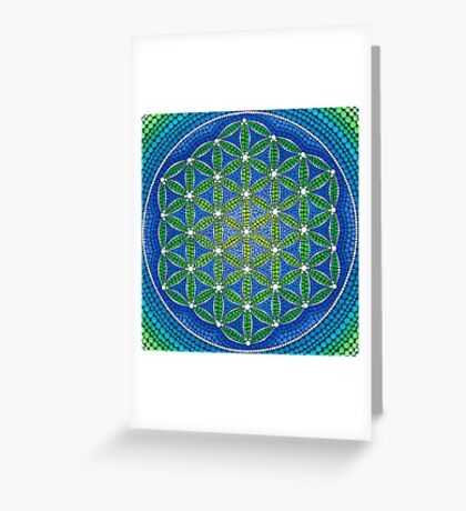 Flower of Life- Ocean Colours Greeting Card