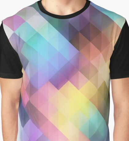 Abstract Colorful Decorative Squares Pattern Graphic T-Shirt