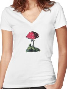 antique typographic vintage mushroom toadstool Women's Fitted V-Neck T-Shirt