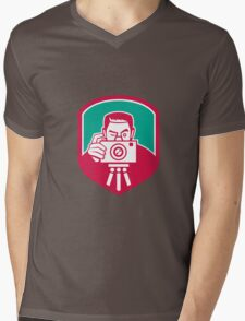Photographer Shooting Camera Shield Retro Mens V-Neck T-Shirt