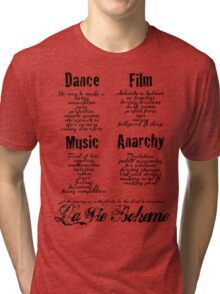 La Vie Boheme B - Rent - Dance, Film, Music, Anarchy - Black Tri-blend T-Shirt