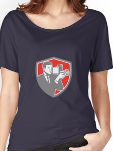 Video Cameraman Shooting Vintage Shield Retro Women's Relaxed Fit T-Shirt