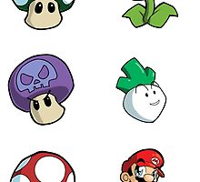 Mario and Power-ups Sticker Sheet Collection by 57MEDIA