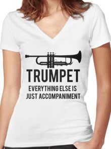 Funny Trumpet Player Women's Fitted V-Neck T-Shirt
