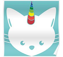 Unicorn Cat with Rainbow Horn Poster