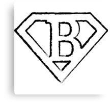 B letter in Superman style Canvas Print