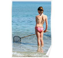 Little girl with fishing net on a sunny beach Poster