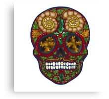 Winter skull holly king, red Canvas Print