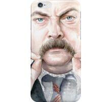 Ron Swanson Portrait iPhone Case/Skin