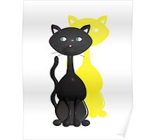 Kitty with Yellow Shadow Poster