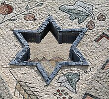 Star of David  in mosaic - Judaism by Ron Zmiri
