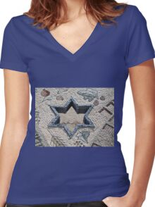 Star of David  in mosaic - Judaism Women's Fitted V-Neck T-Shirt