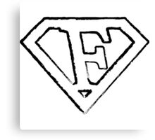F letter in Superman style Canvas Print