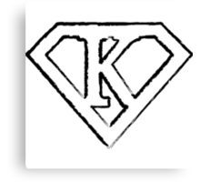 K letter in Superman style Canvas Print