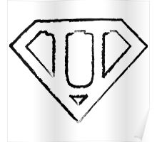 U letter in Superman style Poster