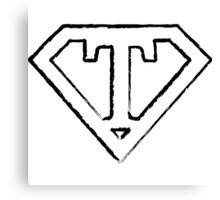 T letter in Superman style Canvas Print