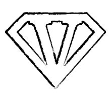 V letter in Superman style Photographic Print