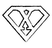 X letter in Superman style Photographic Print