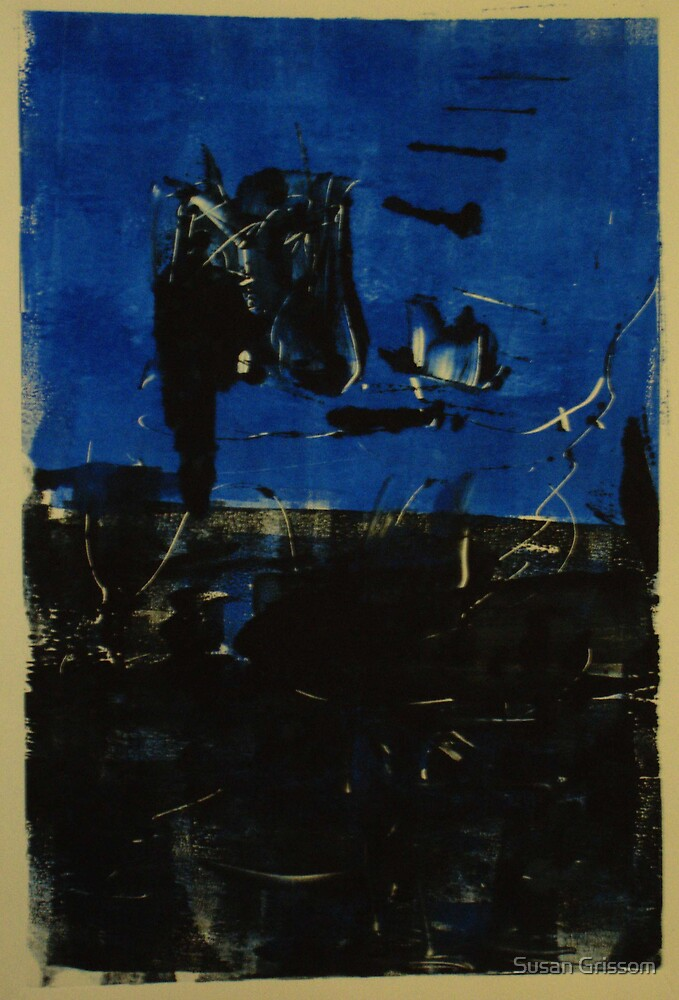 Blue and Black Monotype No.2 by Susan Grissom