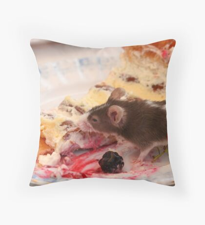 Happy French Mouse Throw Pillow