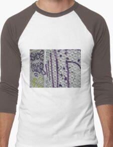 Graffiti on a textured white wall Men's Baseball ¾ T-Shirt