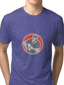 Rugby Player Running Ball Circle Retro Tri-blend T-Shirt