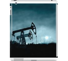 Pump jack and grangemouth refinery at night. iPad Case/Skin