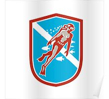 Scuba Diver Diving Going Up Shield Retro Poster