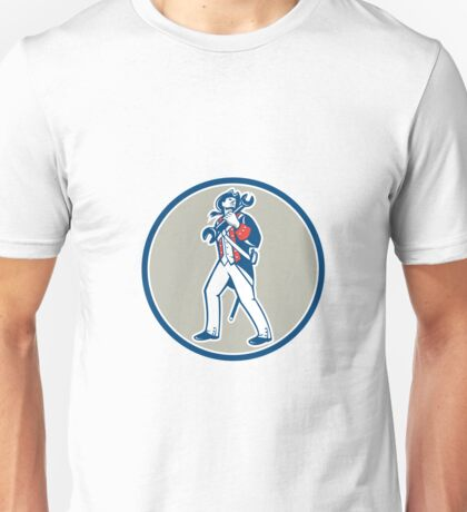 American Patriot Holding Wrench Marching Retro Unisex T-Shirt