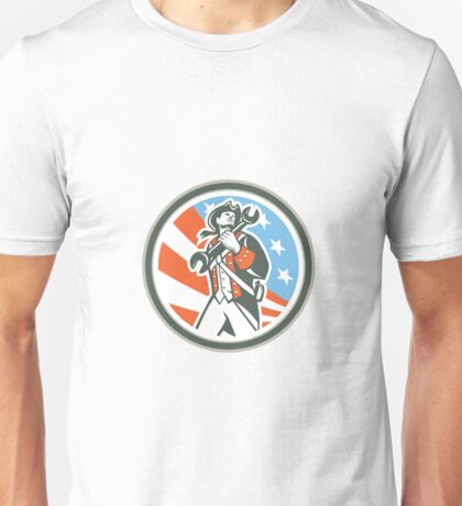 American Patriot Holding Wrench Circle Retro Unisex T-Shirt