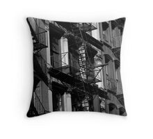 NYC Fire Escapes in Black and White Throw Pillow
