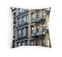 NYC Fire Escapes in Color Throw Pillow