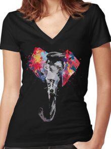 Elephant Art Women's Fitted V-Neck T-Shirt