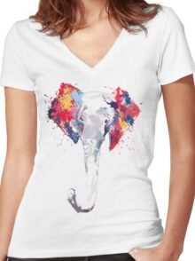 Elephant Art Women's Fitted V-Neck T-Shirt