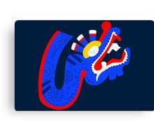 Aztec blue dragon Canvas Print