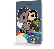 Loki in the Sky with Rainbows Greeting Card