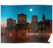 Manhattan at night Poster