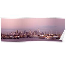 the melbourne skyline from williamstown Poster