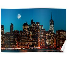 Manhattan at night Poster