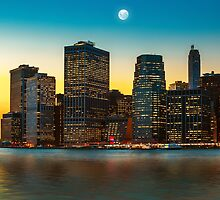 Moon over Manhattan by Mikhail Palinchak