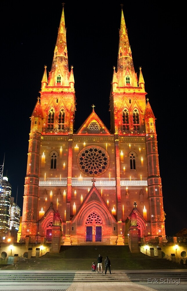 Another view of St Mary's Cathedral lit for Vivid Sydney 2010 by Erik Schlogl